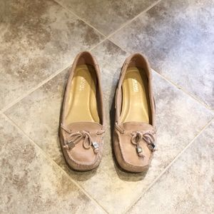 Michael Kors pink suede leather loafers flats 6
